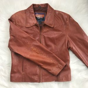 Beautiful Western Leather Coat with Stitching